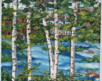 Original Landscape Oil Painting / New Hampshire River Birches / Riverfront Painting / Fine Art Oil on 11 x 14 Canvas