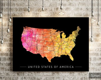 USA Map - Country Map of United States of America - Art Print Watercolor Illustration Wall Art Home Decor Gift - SUNSET Series PRINT