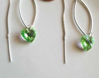 Sterling silver threader earrings with green swavorski hear crystal