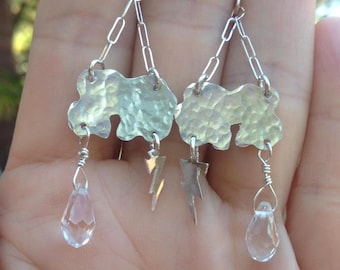 Sterling Silver Clouds with Lightning Bolts and Raindrop Crystal Beads Earrings