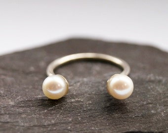 Open Freshwater Pearl Sterling Silver Ring ~ statement ring, stacking ring, pearl, wedding, bridesmaid, adjustable, open, solitaire, open