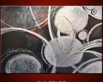"""Abstract Art Painting Original Large Modern Art Wall Decor... 24"""" x 36"""" ... black white red grey ... Encircled, by Amy Giacomelli"""