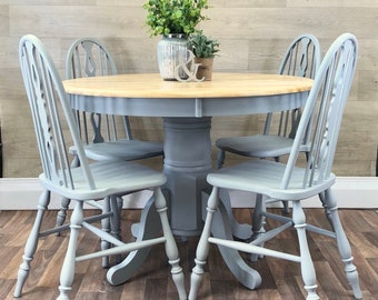 Farmhouse Round Kitchen Table and 4 Chairs GREY Solid Wood