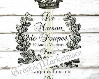 Maison de Poupee Antiques Brocante Instant Download Shabby Chic Transfer Fabric digital collage sheet graphic printable graphic No. 1680
