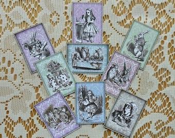 9 Alice in Wonderland STICKERS- Alice in Wonderland John Tenniel full color illustrations, Alice in Wonderland jewelry jewellery DIY crafts