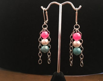 Earrings, dangle, beaded, pink, white, and blue pearls with silver chain.