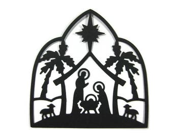 Large Detailed Paper Nativity Silhouette Die Cut Set of 6