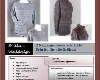 PDF pattern knitting machine 2 pullovers with Raglan MS00307