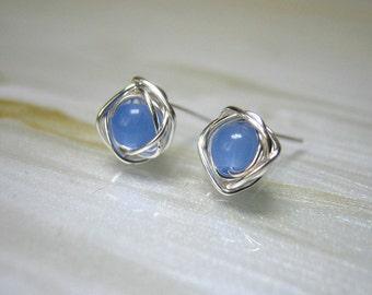 Tiny Blue Stud Earrings, Blue Post Earrings, Small Stud Earrings, Tiny Studs, Chalcedony Earrings, Bridesmaids Jewellery,