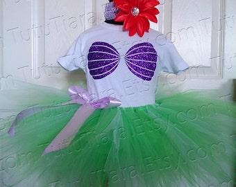 Girls Tutu Little Mermaid Outfit, Birthday Tutu Set, Ariel Tutu Set, Mermaid Tutu Glitter Seashell Sea Shell Mermaid Shirt Halloween Costume