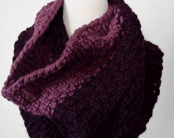 Hand Knit Textured Slip Stitch Cowl in Eggplant and Medium Purple - Wool Blend