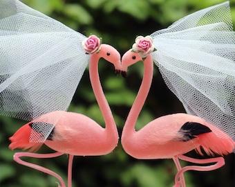 Pink Flamingo Wedding Cake Topper: Bride & Bride Lesbian Love Bird Cake Topper - Two Brides