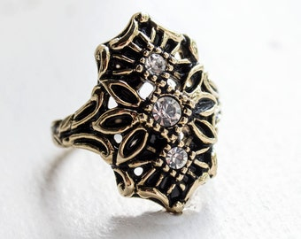 Vintage Edwardian Style Ring Antique 18k Yellow Gold Electroplated Clear Swarovski Crystals Made in USA #R1372