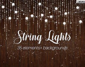 String Lights v.3, Wedding Lights, Party Lights, string lights clip art, invitation paper, rustic string lights, rustic clip art