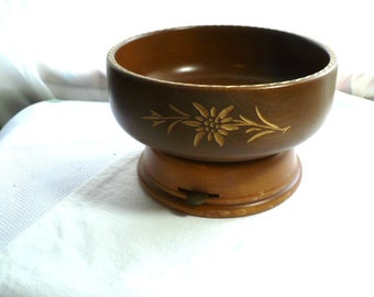 Music Box,  Anniversary Gift, Housewarming Gift, Retirement Gift, Wood Bowl, Hand Carved, Swiss, Edelweiss, Bowl, Wooden Bowl, Fruit Bowl,