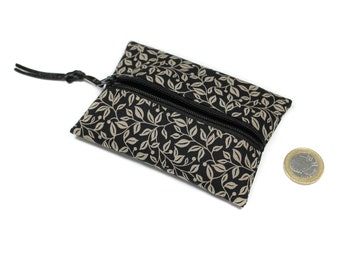 small coin purse in black and beige, cotton wallet, unisex wallet, zippered wallet, women gift