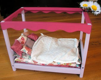 Wooden doll bed, 16 - 18 inch doll bed, handmade, doll princess bed, customisable name, large doll bed, waldorf doll bed, american doll bed
