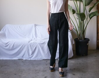 black suede leather baggy pants / black leather pants / baggy leather moto pants / us 8 / 3528t / B15