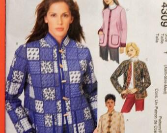 McCall's 4309 Boxy jacket pattern Uncut Sizes Extra small (4-6), Small (8-10) and medium (12-14)