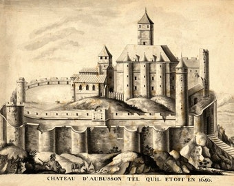 Chateau d'Aubusson Limousin France in 1646 Pen and ink drawing reproduction AD3-42