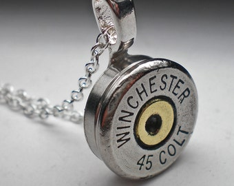 45 Colt Winchester Nickel Bullet Head Pendant Necklace with 18 inch Silver plate Chain Steampunk