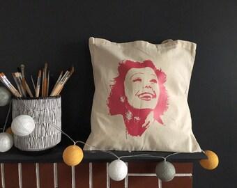 Tote bag made in france portrait Edith PIAF paris vintage hand make