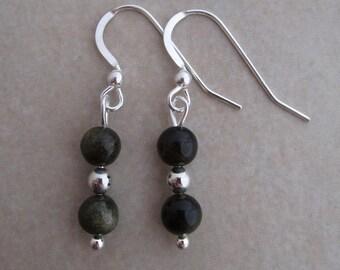 golden sheen obsidian earrings sterling silver
