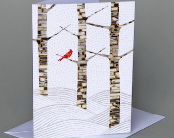 Winter Forest: A nature inspired blank notecard, cardinal, Vermont, nontraditional holiday, Christmas