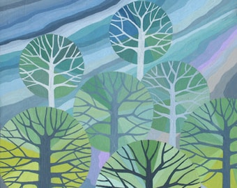 Tiny Forest II Print, illustration of a stylised forest, tree silouettes against a colourful sky