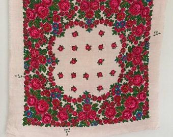babushka scarf shawl vintage wool ,russian shawl , head scarf, floral scarf  , Natural woolen shawl , Russian folk scarf, ukrainian scarf