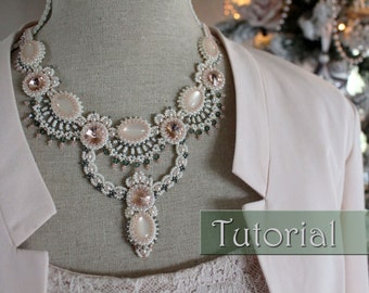 Tutorial for beadwoven necklace 'Juliette' - PDF beading pattern - DIY
