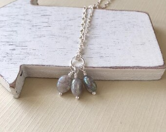 18 inch pearlized sterling silver necklace,labradorite dangle,pearlized dangle,dainty chain,minimalist jewelry, gift for her