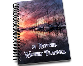 12 Months Weekly Planner: Undated Weekly Planner | 2 pages per week | Notes | Purple Boat Sunrise