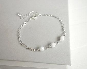 Dainty bracelet white bead bracelet minimalist chain bracelet layering bracelet for women