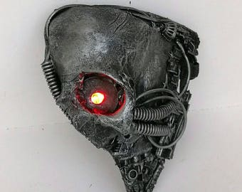 Cyborg terminator cyberpunk techno Light up bionic eye phantom mascarade mask large.
