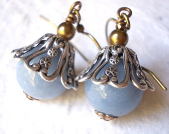 Natural angelite stone earrings, light blue gemstone, antiqued silver brass filigree, ocean blue vintage chic earrings for women, stones