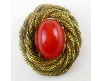 1960s RICHELIEU Antiqued Rope-Wrapped Lg. Carnelian Glass Jewel Pin