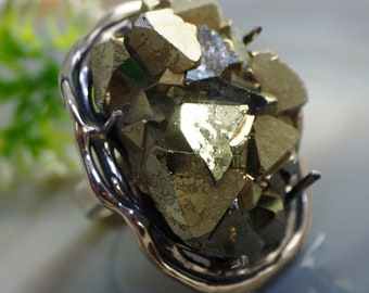 Iron Pyrite Ring Statement Ring Sterling Silver Jewelry