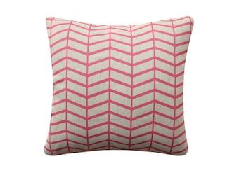 Herringbone Decorative Pillow Cover, Cushion Cover, 18x18 Pillow, Pink Cushion, Geometric Cushion, Pastel Cushion, 201