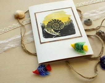 Snail SketchBook~Sketchbook,linocut,print,snail,art,unique,present,special