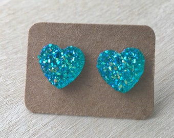 Heart Earrings//Blue Heart Earrings//Earring Studs//Druzy Heart Earrings//12 MM Earrings//Sparkly Earring Studs//Blue Druzy Studs