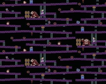 "New Nintendo Fabric: Nintendo Super Mario Game Scenes -Nintendo Donkey Kong Jumpman's Ascent 100% cotton fabric by the yard 36""x43"" SC479"
