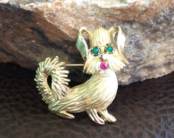 Dog Brooch signed BSK, Dog Jewelry