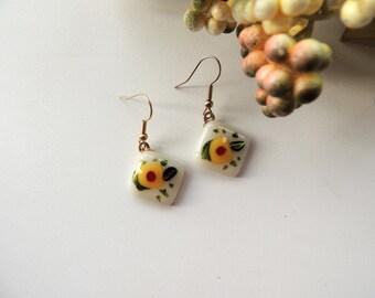 Fused glass earrings,rhombus fused earrings, red yellow green earrings, dichroic drop earrings