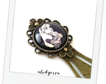 Bookmark Alice in the Wonderland tattoo • cabochon • bronze • vintage