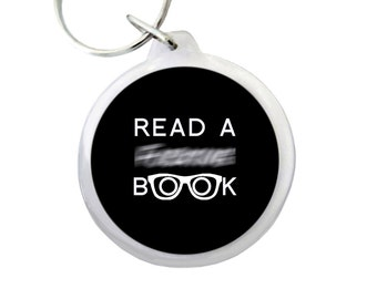 """Read a F*ing Book (Spectacles) Keyring 1.75"""" Mature Keychain for Students, Librarians and Book Lovers Everywhere!"""