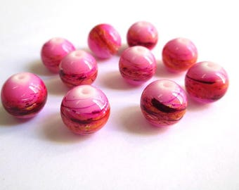 10 multicolor, pink painted glass 12mm beads