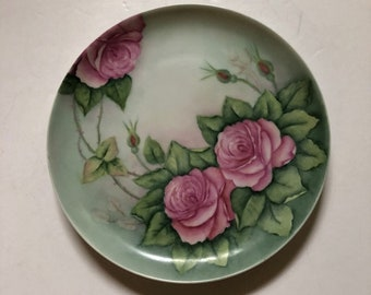 1980 Vintage Hand Painted Wall Plate with Pink Roses Shabby Chic
