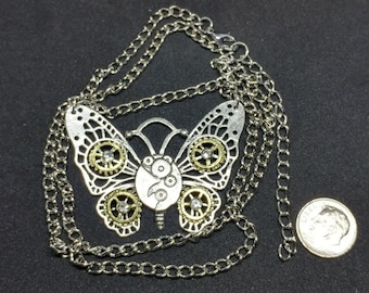 Butterfly Retro Steampunk Pendant Necklace.