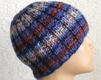 Blue brown striped beanie hat, winter hat, striped hat, ribbed beanie hat, knit hat, toque, mens womens hat, chemo cap, ski toboggan, hiking